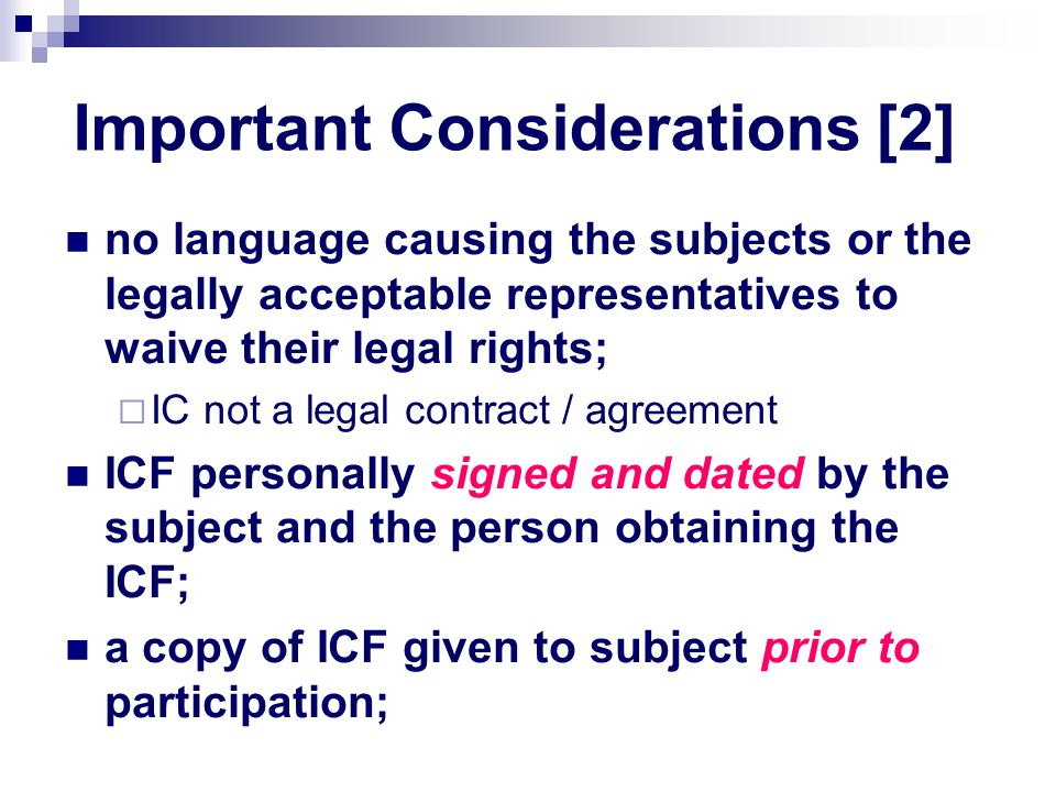 Important Considerations [2]
